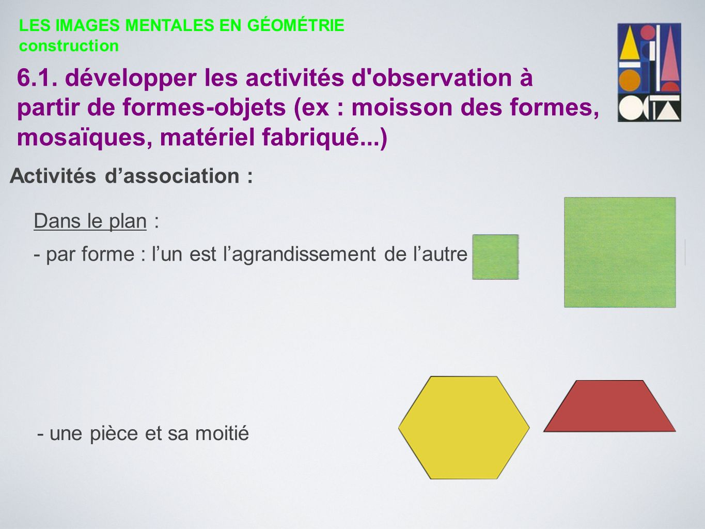 6.1. développer les activités d'observation à partir de formes-objets (ex : moisson des formes, mosaïques, matériel fabriqué...) Dans le plan : - par