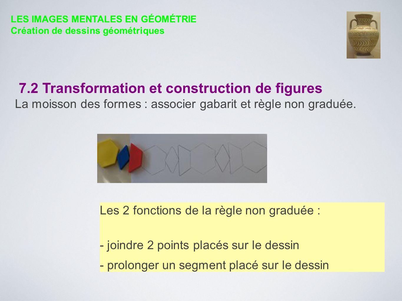 7.2 Transformation et construction de figures La moisson des formes : associer gabarit et règle non graduée. Les 2 fonctions de la règle non graduée :