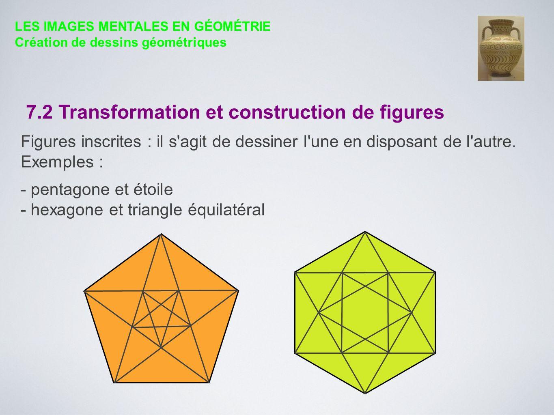 7.2 Transformation et construction de figures Figures inscrites : il s'agit de dessiner l'une en disposant de l'autre. Exemples : - pentagone et étoil