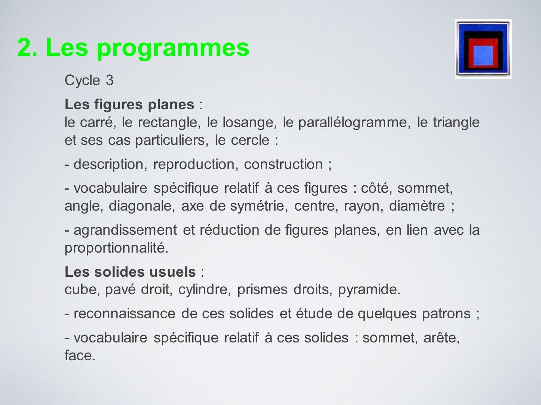 Cycle 3 Les problèmes de reproduction ou de construction de configurations géométriques diverses mobilisent la connaissance des figures usuelles.