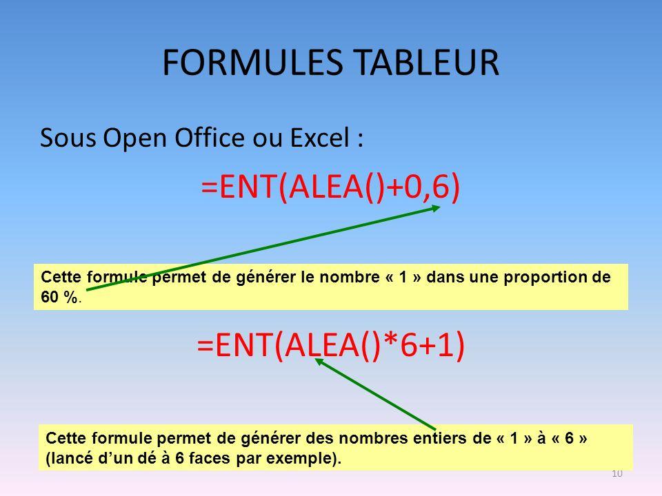 10 FORMULES TABLEUR Sous Open Office ou Excel : =ENT(ALEA()+0,6) =ENT(ALEA()*6+1) Cette formule permet de générer le nombre « 1 » dans une proportion