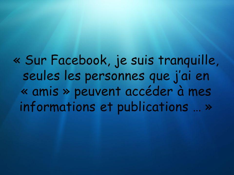 « Sur Facebook, je suis tranquille, seules les personnes que jai en « amis » peuvent accéder à mes informations et publications … »