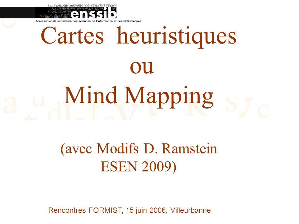 Rencontres FORMIST, 15 juin 2006, Villeurbanne Cartes heuristiques ou Mind Mapping (avec Modifs D.