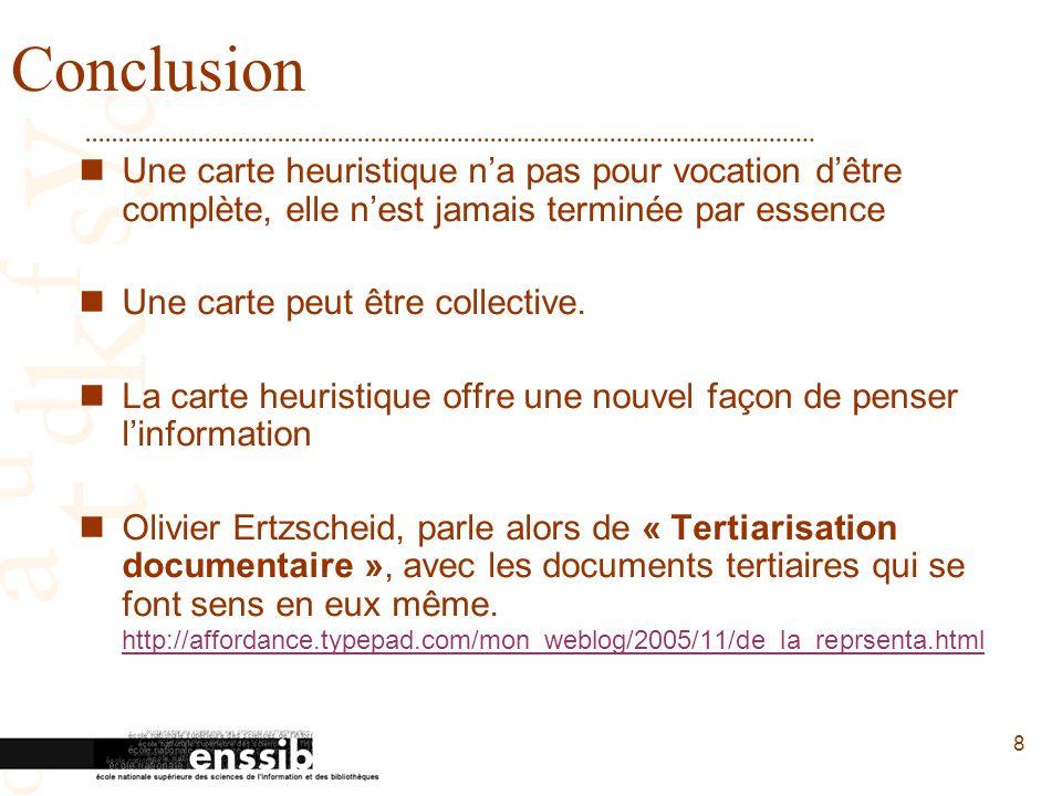 8 Conclusion Une carte heuristique na pas pour vocation dêtre complète, elle nest jamais terminée par essence Une carte peut être collective.