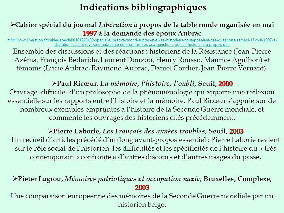 Indications bibliographiques 2000 Paul Ricœur, La mémoire, lhistoire, loubli, Seuil, 2000 Ouvrage -difficile- dun philosophe de la phénoménologie qui
