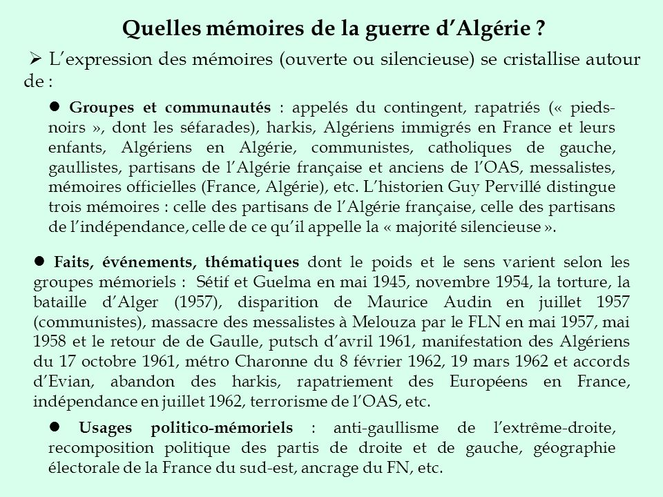 Quelles mémoires de la guerre dAlgérie ? Lexpression des mémoires (ouverte ou silencieuse) se cristallise autour de : Groupes et communautés : appelés
