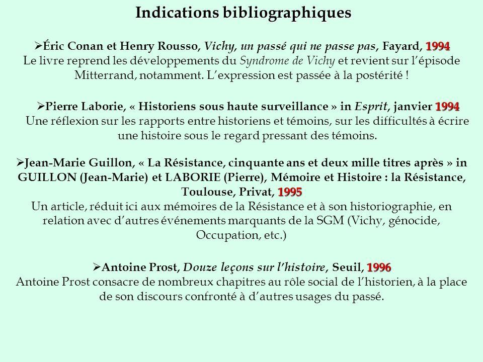 Indications bibliographiques 1994 Éric Conan et Henry Rousso, Vichy, un passé qui ne passe pas, Fayard, 1994 Le livre reprend les développements du Syndrome de Vichy et revient sur lépisode Mitterrand, notamment.