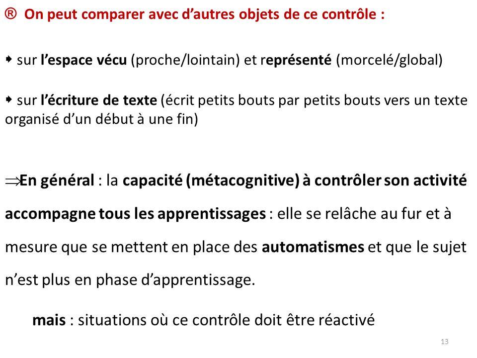 ® On peut comparer avec dautres objets de ce contrôle : sur lespace vécu (proche/lointain) et représenté (morcelé/global) sur lécriture de texte (écri