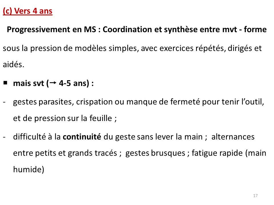 (c) Vers 4 ans Progressivement en MS : Coordination et synthèse entre mvt - forme sous la pression de modèles simples, avec exercices répétés, dirigés