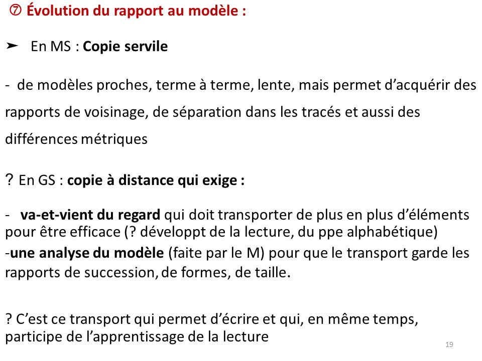 Évolution du rapport au modèle : En MS : Copie servile - de modèles proches, terme à terme, lente, mais permet dacquérir des rapports de voisinage, de