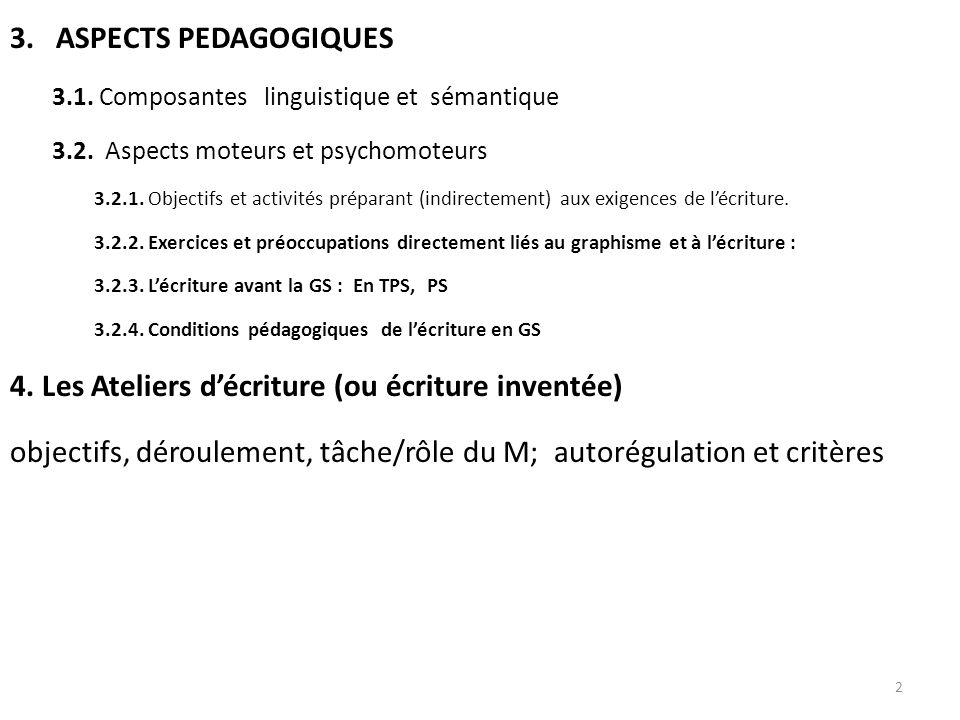 3. ASPECTS PEDAGOGIQUES 3.1. Composantes linguistique et sémantique 3.2. Aspects moteurs et psychomoteurs 3.2.1. Objectifs et activités préparant (ind