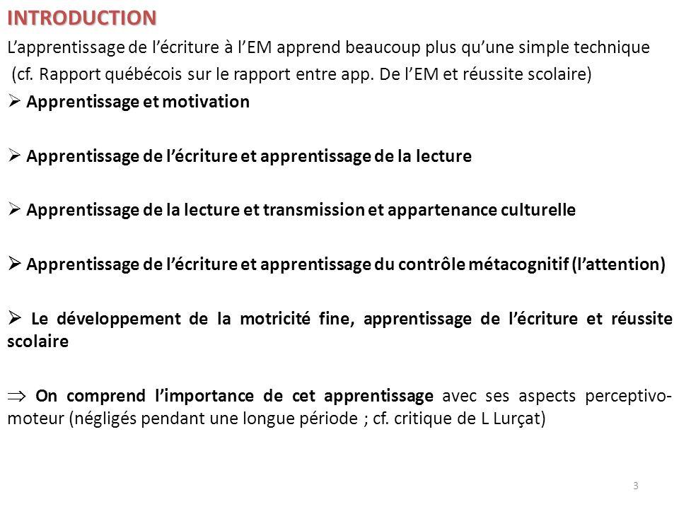 INTRODUCTION Lapprentissage de lécriture à lEM apprend beaucoup plus quune simple technique (cf. Rapport québécois sur le rapport entre app. De lEM et