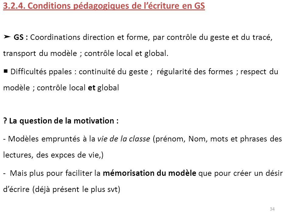 3.2.4. Conditions pédagogiques de lécriture en GS GS : Coordinations direction et forme, par contrôle du geste et du tracé, transport du modèle ; cont