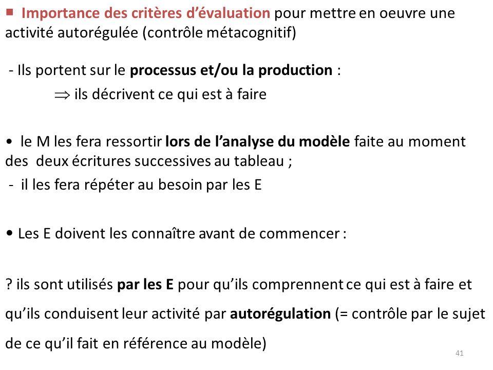 Importance des critères dévaluation pour mettre en oeuvre une activité autorégulée (contrôle métacognitif) - Ils portent sur le processus et/ou la pro