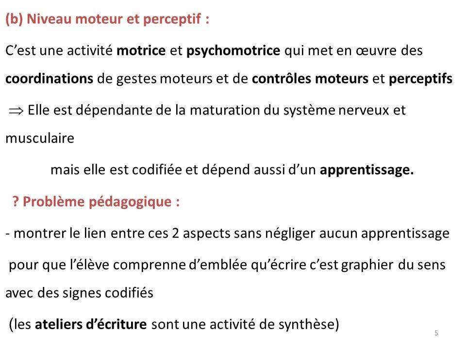 (b) Niveau moteur et perceptif : Cest une activité motrice et psychomotrice qui met en œuvre des coordinations de gestes moteurs et de contrôles moteu