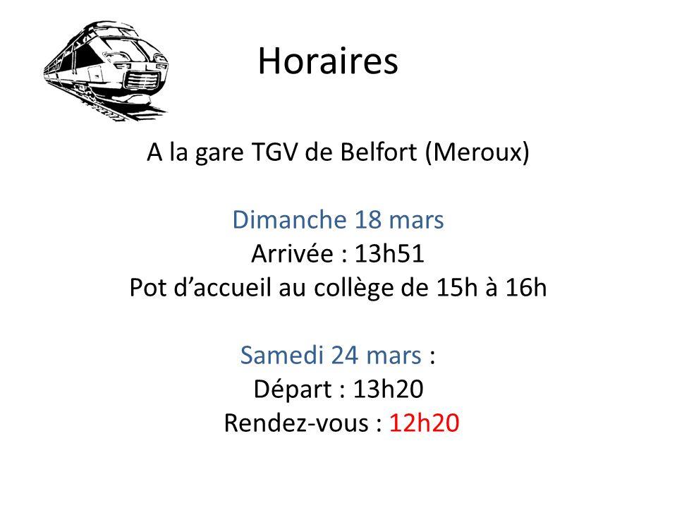 Horaires A la gare TGV de Belfort (Meroux) Dimanche 18 mars Arrivée : 13h51 Pot daccueil au collège de 15h à 16h Samedi 24 mars : Départ : 13h20 Rendez-vous : 12h20
