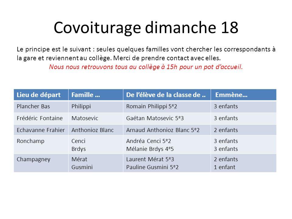 Covoiturage dimanche 18 Lieu de départFamille …De lélève de la classe de..