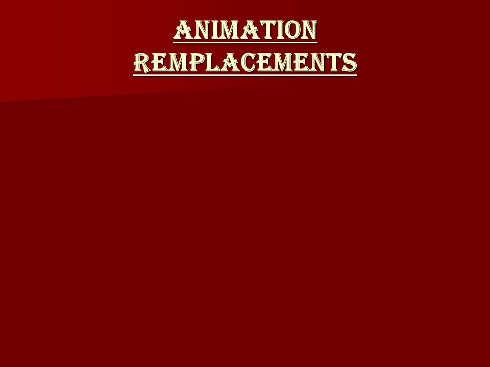ANIMATION Remplacements