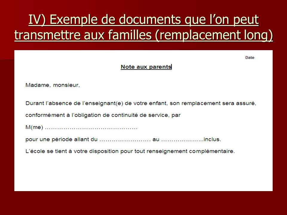 IV) Exemple de documents que lon peut transmettre aux familles (remplacement long)
