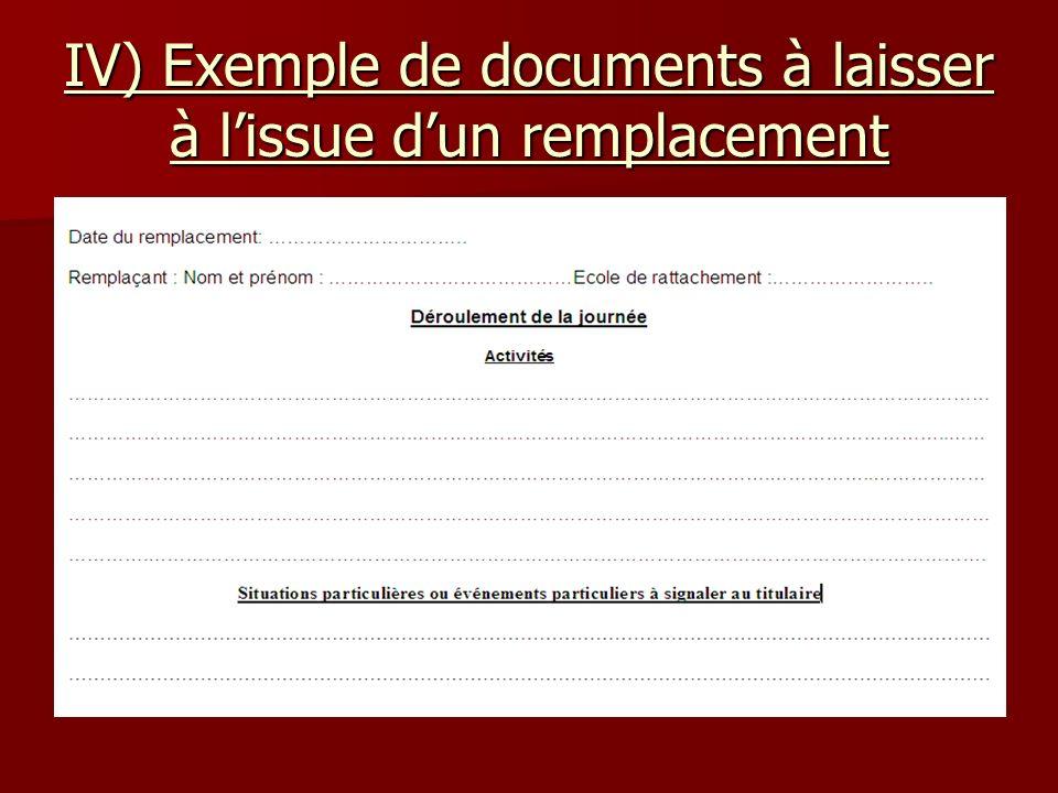 IV) Exemple de documents à laisser à lissue dun remplacement