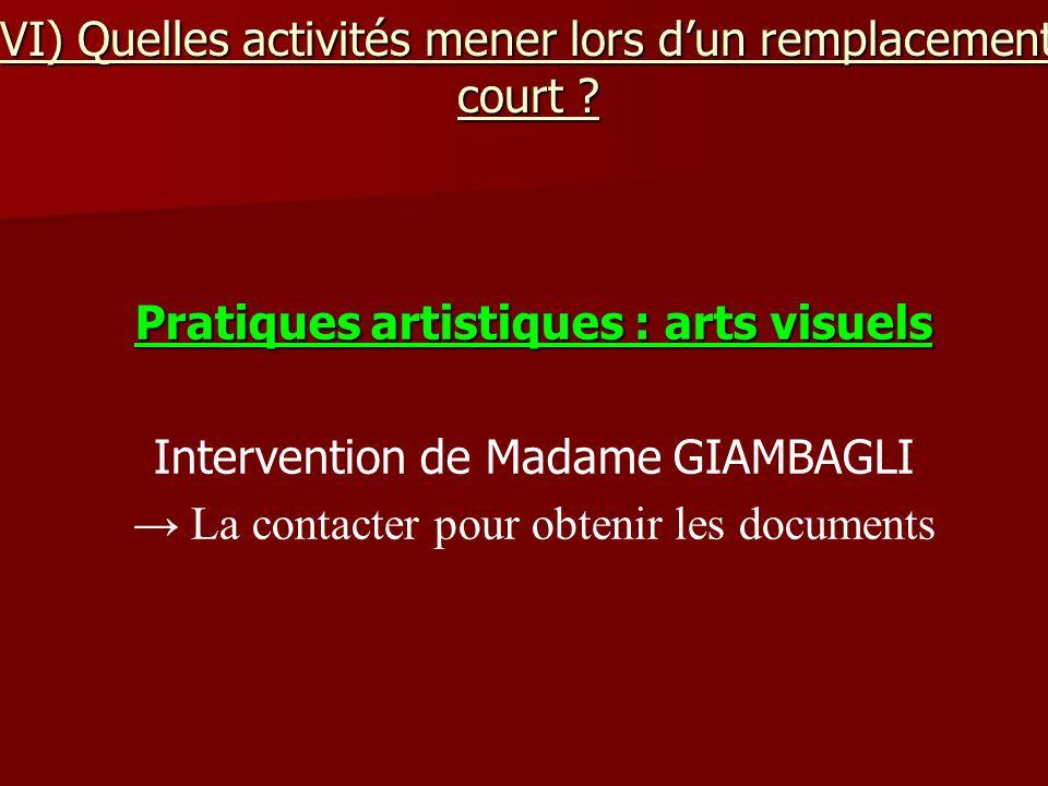 VI) Quelles activités mener lors dun remplacement court ? Pratiques artistiques : arts visuels Intervention de Madame GIAMBAGLI La contacter pour obte