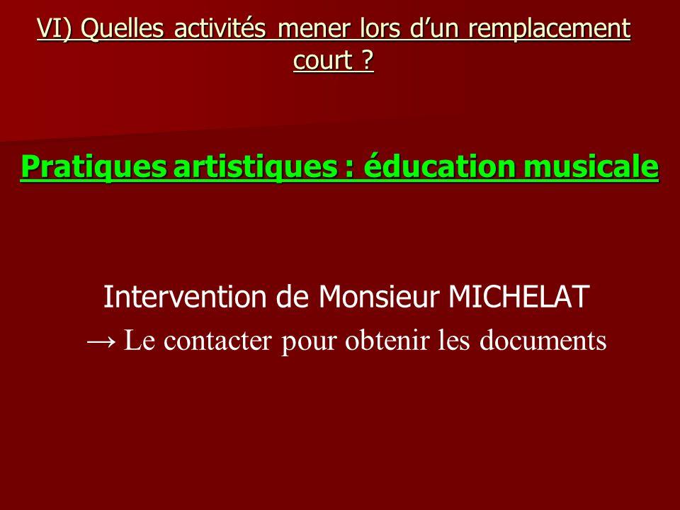 VI) Quelles activités mener lors dun remplacement court ? Pratiques artistiques : éducation musicale Intervention de Monsieur MICHELAT Le contacter po