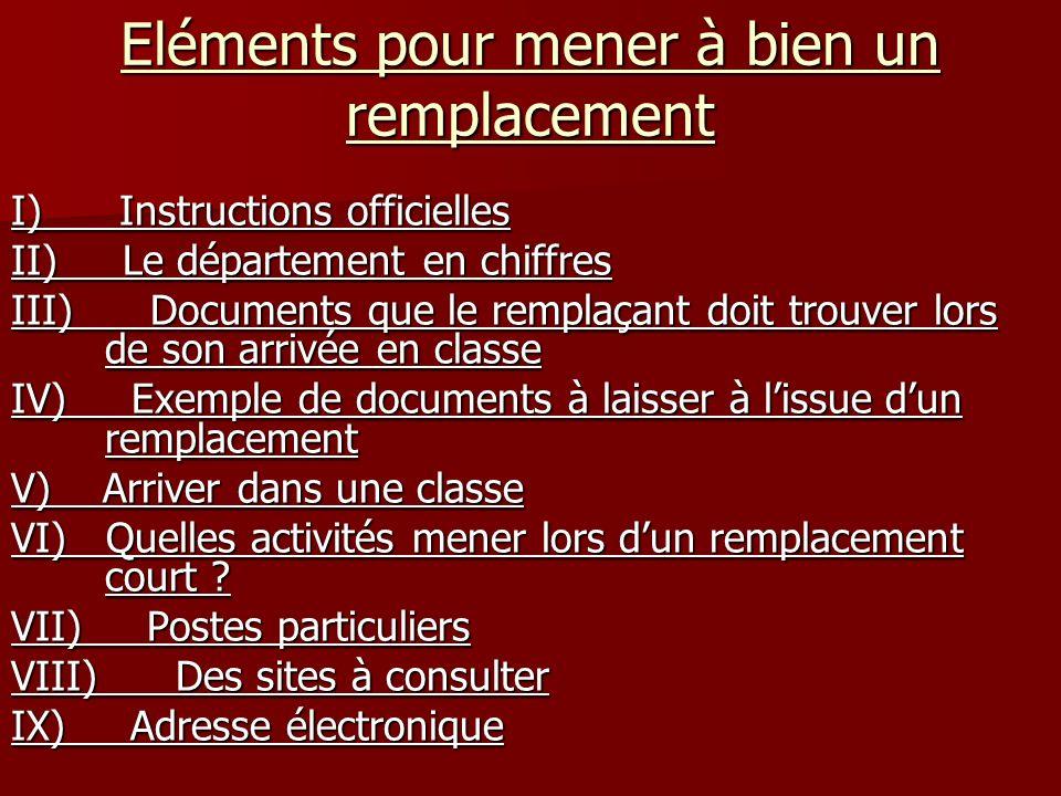 Eléments pour mener à bien un remplacement I) Instructions officielles II) Le département en chiffres III) Documents que le remplaçant doit trouver lo