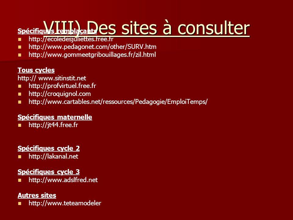 VIII) Des sites à consulter Spécifiques remplaçants http://ecoledesjuliettes.free.fr http://www.pedagonet.com/other/SURV.htm http://www.gommeetgriboui