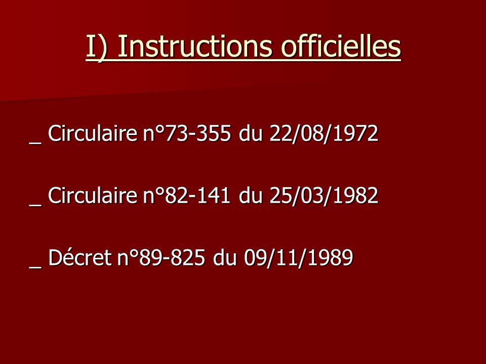 I) Instructions officielles _ Circulaire n°73-355 du 22/08/1972 _ Circulaire n°82-141 du 25/03/1982 _ Décret n°89-825 du 09/11/1989