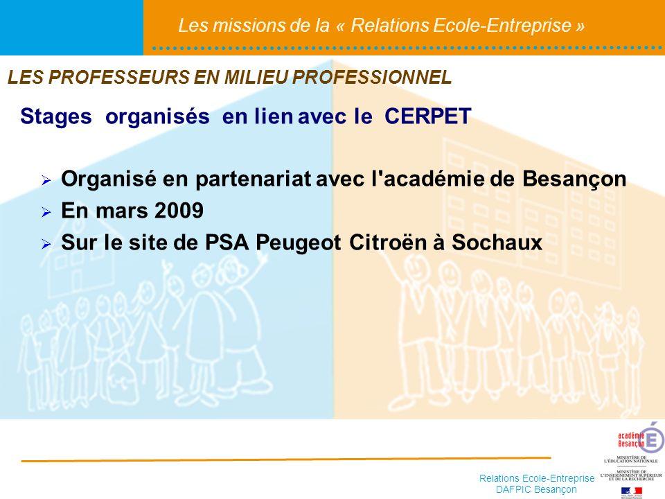 Relations Ecole-Entreprise DAFPIC Besançon Les missions de la « Relations Ecole-Entreprise » Stages organisés en lien avec le CERPET LES PROFESSEURS E