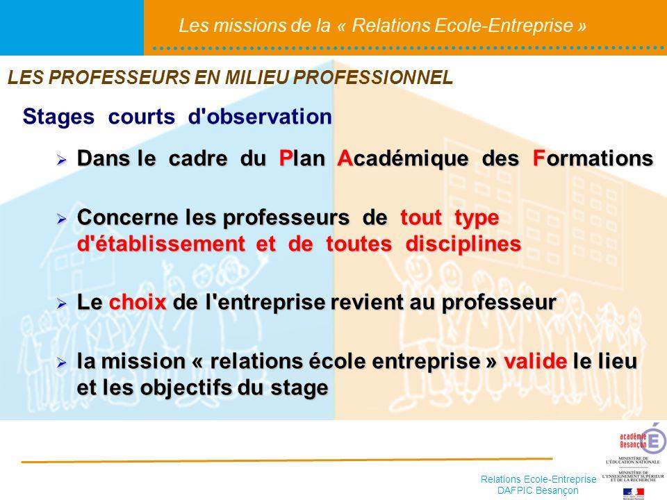 Relations Ecole-Entreprise DAFPIC Besançon Les missions de la « Relations Ecole-Entreprise » Stages courts d'observation Dans le cadre du Plan Académi