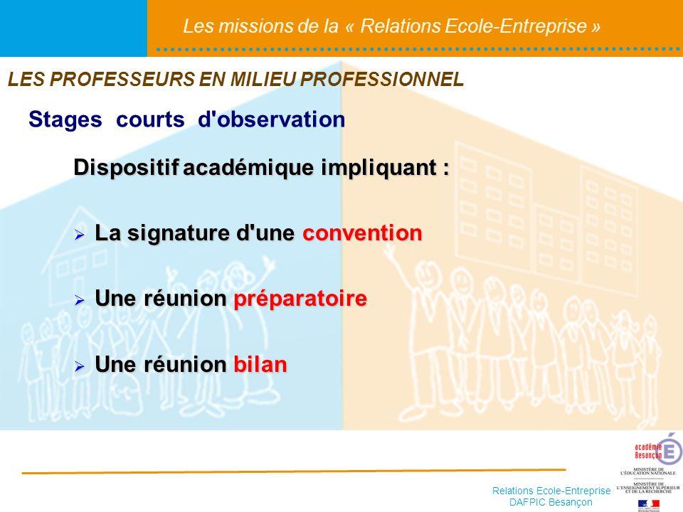 Relations Ecole-Entreprise DAFPIC Besançon Les missions de la « Relations Ecole-Entreprise » Dispositif académique impliquant : La signature d'une con