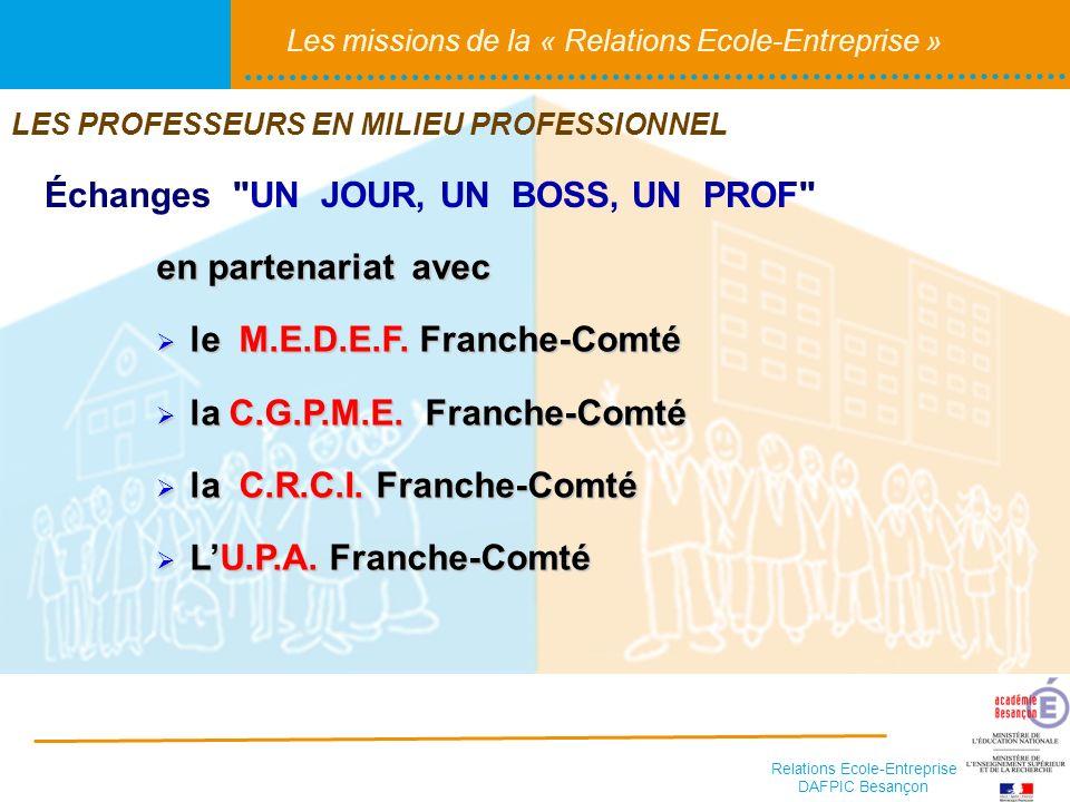 Relations Ecole-Entreprise DAFPIC Besançon Les missions de la « Relations Ecole-Entreprise » Échanges UN JOUR, UN BOSS, UN PROF en partenariat avec le M.E.D.E.F.