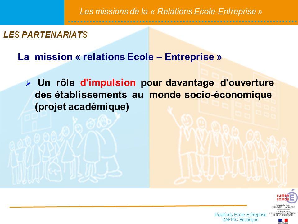 Relations Ecole-Entreprise DAFPIC Besançon Les missions de la « Relations Ecole-Entreprise » Un rôle d'impulsion pour davantage d'ouverture des établi