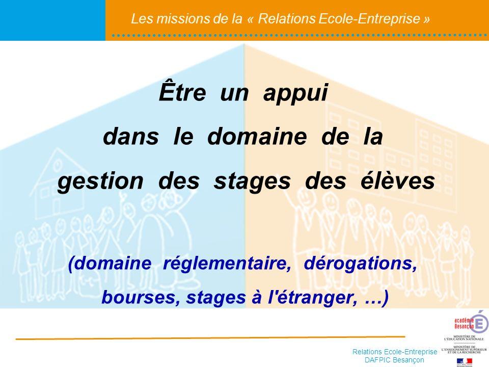 Relations Ecole-Entreprise DAFPIC Besançon Les missions de la « Relations Ecole-Entreprise » Aider les établissements dans le cadre de leur mission de suivi du devenir des élèves et de leur insertion