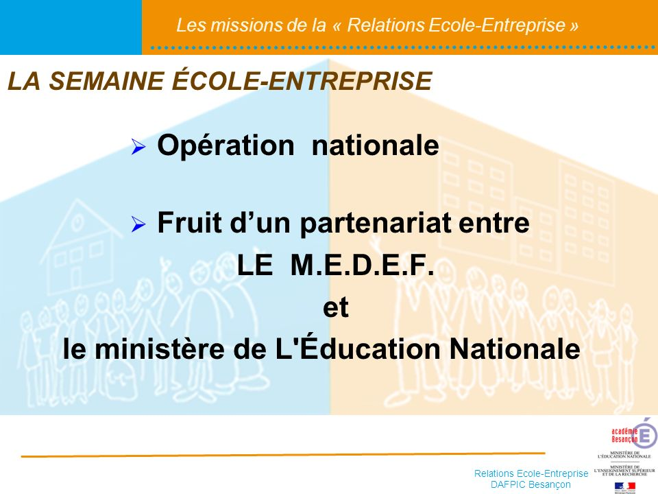 Relations Ecole-Entreprise DAFPIC Besançon Les missions de la « Relations Ecole-Entreprise » LA SEMAINE ÉCOLE-ENTREPRISE Opération nationale Fruit dun partenariat entre LE M.E.D.E.F.