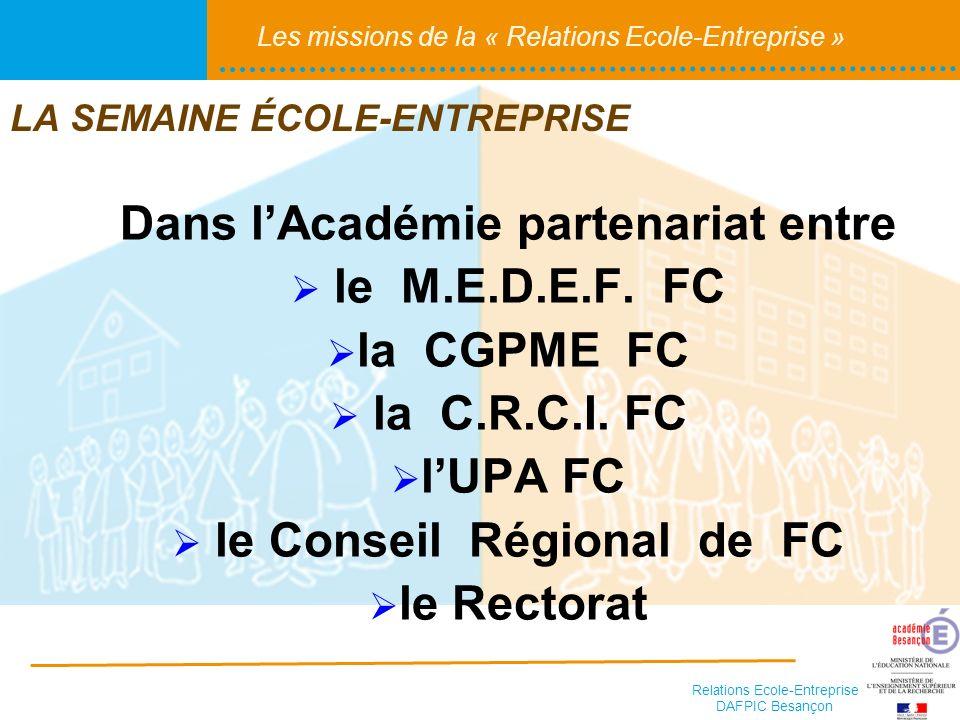 Relations Ecole-Entreprise DAFPIC Besançon Les missions de la « Relations Ecole-Entreprise » Dans lAcadémie partenariat entre le M.E.D.E.F. FC la CGPM