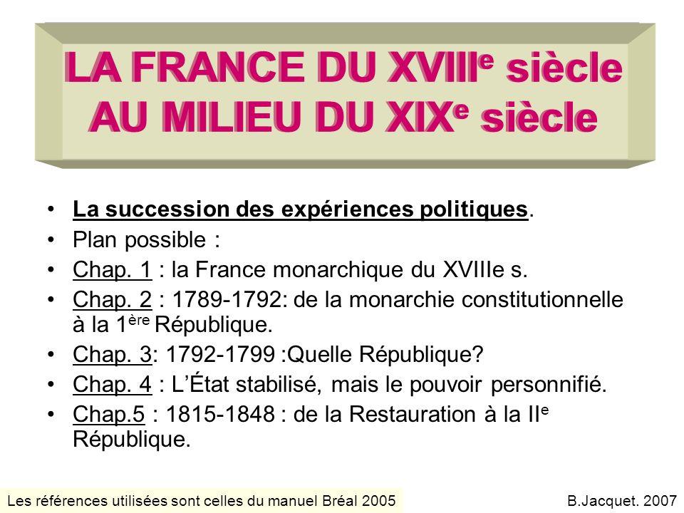 LA FRANCE DU XVIII e siècle AU MILIEU DU XIX e siècle La succession des expériences politiques. Plan possible : Chap. 1 : la France monarchique du XVI
