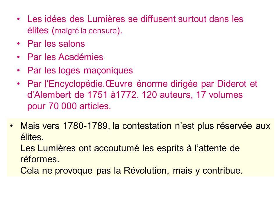 Mais vers 1780-1789, la contestation nest plus réservée aux élites. Les Lumières ont accoutumé les esprits à lattente de réformes. Cela ne provoque pa