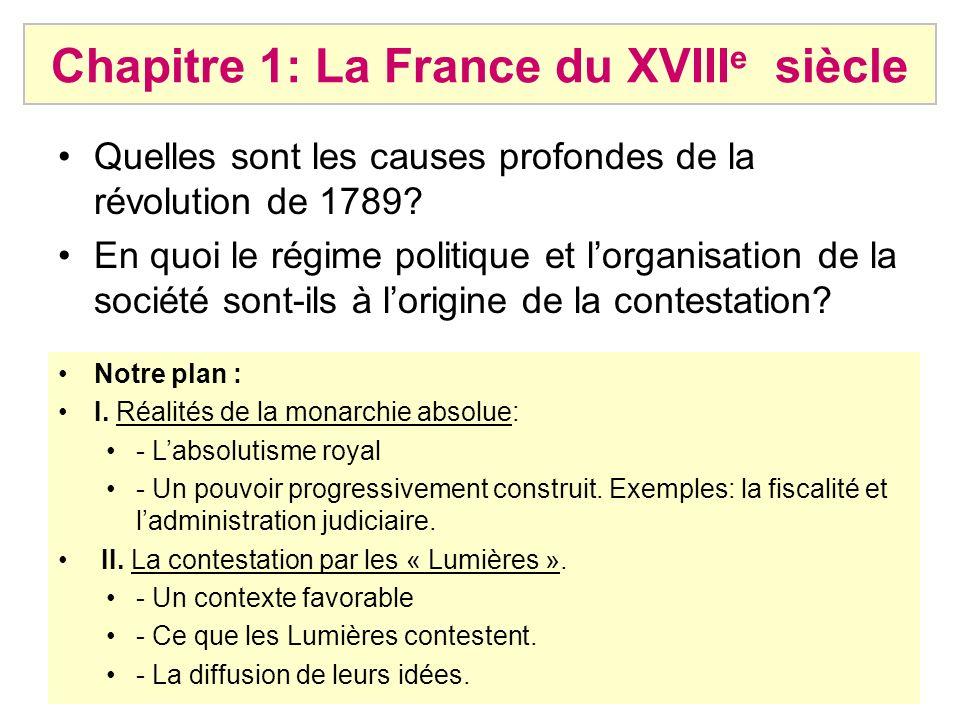 Chapitre 1: La France du XVIII e siècle Quelles sont les causes profondes de la révolution de 1789? En quoi le régime politique et lorganisation de la