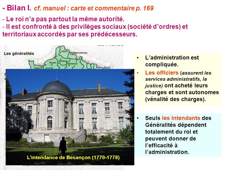 - Bilan I. cf. manuel : carte et commentaire p. 169 Ladministration est compliquée. Les officiers (assurent les services administratifs, la justice) o