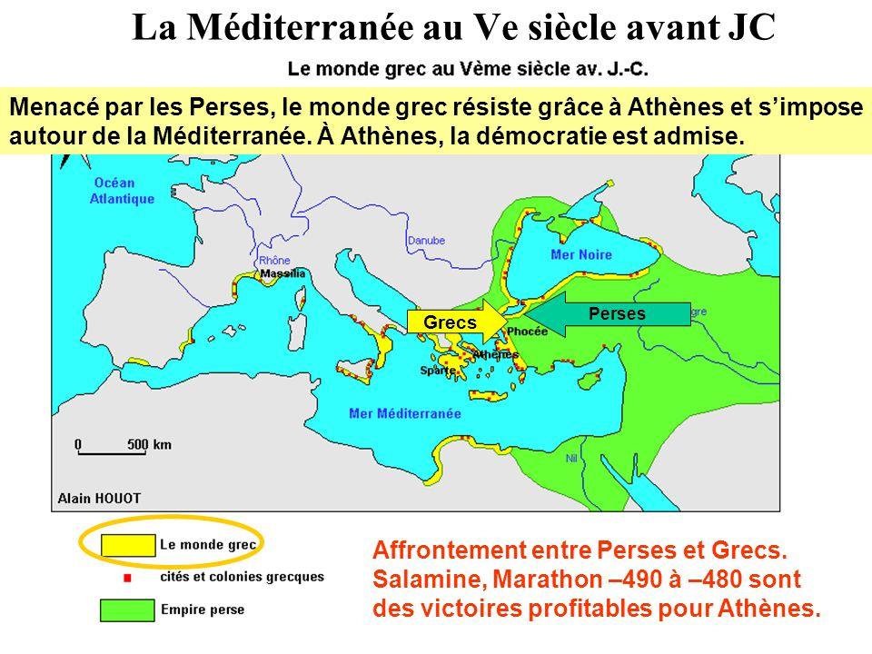 La Méditerranée au Ve siècle avant JC Perses Grecs Affrontement entre Perses et Grecs. Salamine, Marathon –490 à –480 sont des victoires profitables p