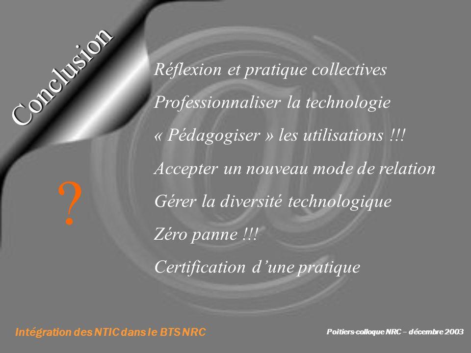 Intégration des NTIC dans le BTS NRC Poitiers-colloque NRC – décembre 2003 Conclusion Réflexion et pratique collectives Professionnaliser la technolog