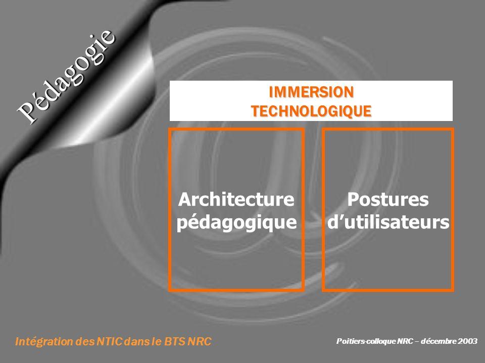 IMMERSIONTECHNOLOGIQUE Pédagogie Architecture pédagogique Postures dutilisateurs Intégration des NTIC dans le BTS NRC Poitiers-colloque NRC – décembre