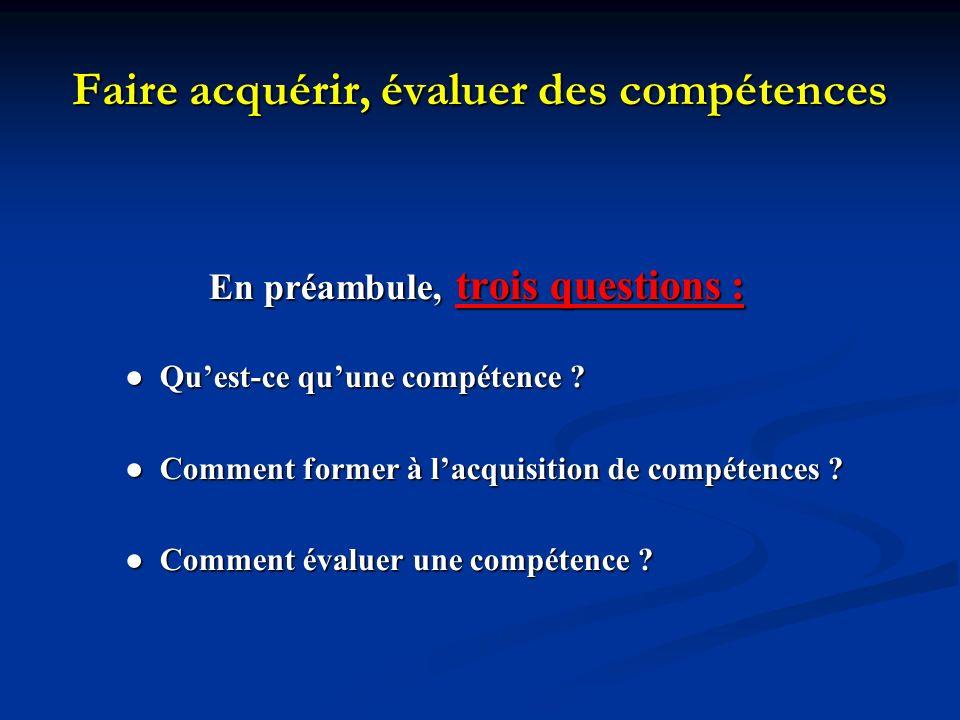 Faire acquérir, évaluer des compétences En préambule, trois questions : Quest-ce quune compétence ? Quest-ce quune compétence ? Comment former à lacqu