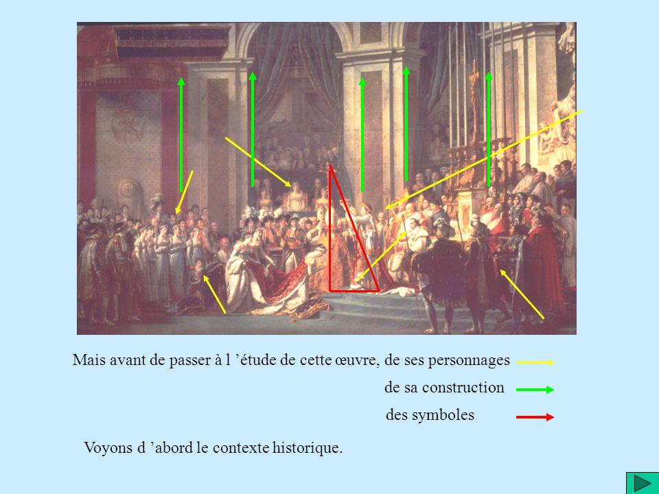 Ce tableau est une commande de Napoléon à l artiste peintre Jacques Louis David, en 1806, pour évoquer la cérémonie du sacre de Napoléon empereur, le