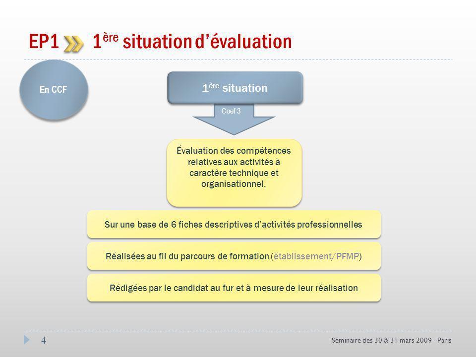 4 Séminaire des 30 & 31 mars 2009 - Paris EP1 1 ère situation dévaluation En CCF Coef 3 1 ère situation Évaluation des compétences relatives aux activités à caractère technique et organisationnel.