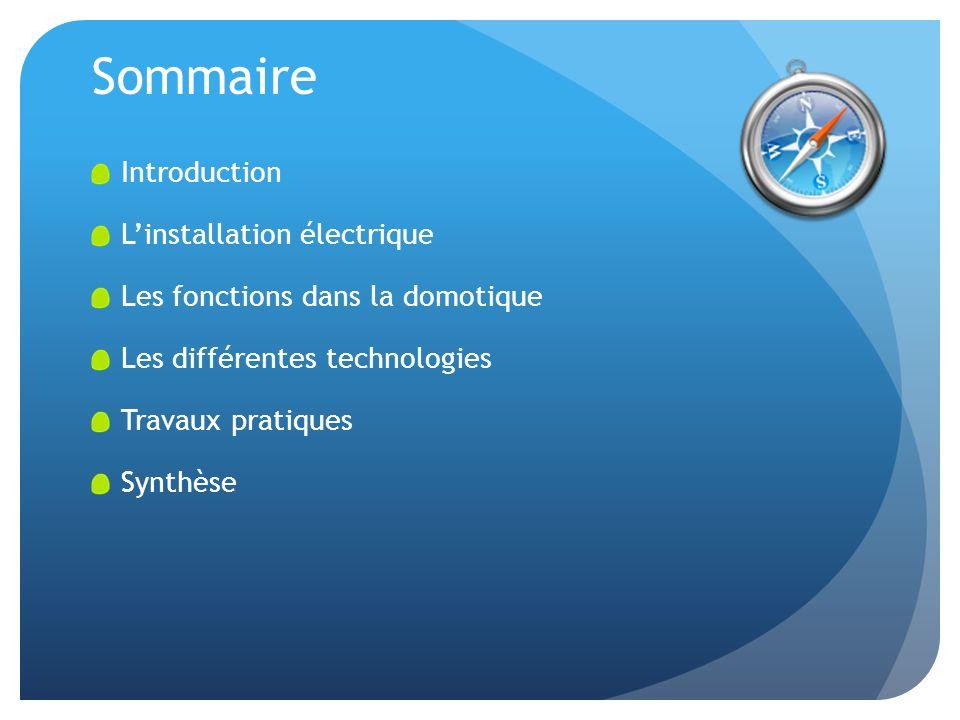 Sommaire Introduction Linstallation électrique Les fonctions dans la domotique Les différentes technologies Travaux pratiques Synthèse