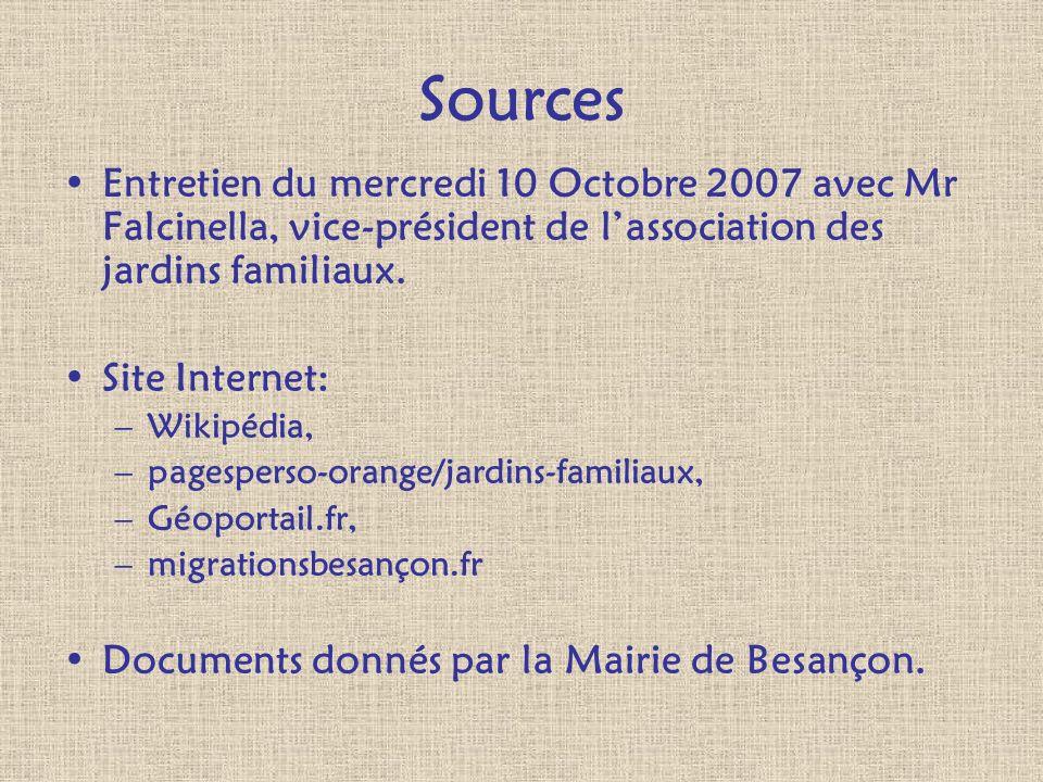 Sources Entretien du mercredi 10 Octobre 2007 avec Mr Falcinella, vice-président de lassociation des jardins familiaux. Site Internet: –Wikipédia, –pa