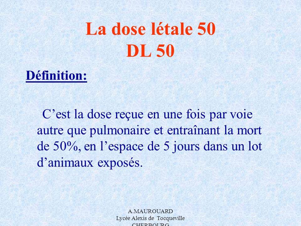 A.MAUROUARD Lycée Alexis de Tocqueville CHERBOURG La dose létale 50 DL 50 Définition: Cest la dose reçue en une fois par voie autre que pulmonaire et